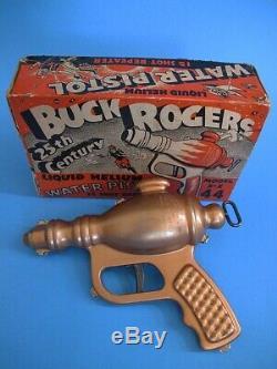 Vintage Buck Rogers Copper Liquid Helium Space Ray Gun Pistol With Original Box