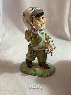 Vintage Consco Parachute Boy Figurine Military Logo on Helmet w\ Toy Rocket
