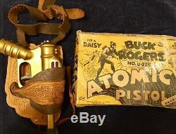 Vintage Daisy Buck Rogers Atomic Pistol Space Gun With Original Box And Holster