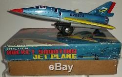 Vintage Flying Saucer X- 60 Linemar Tin Rocket Shooting Jet japan