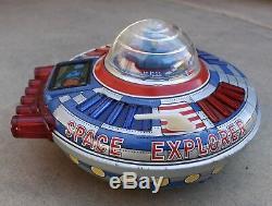 Vintage Ichiko Space Explorer Spaceship Tin Toy Made in Japan Moon-1 Astronaut