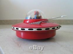 Vintage KO Yoshida Japan Tin Robot Flying Saucer Space toy Cragstan Masudaya