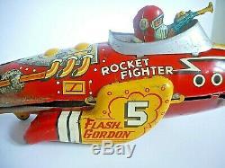Vintage MARX Flash Gordon Rocket Fighter Wind-Up Tin Toy Space Ship