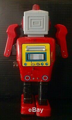 Vintage MIGHTY ROBOT AKA ATHLETE ROBOT YONEZAWA 1960s Japan SPACE TIN