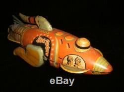 Vintage Marx 25th-Century USA Buck Rogers Wind-up tin toy Spaceship WORKING