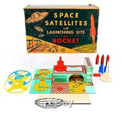 Vintage Marx Tin Space Satellites with Launching Site and Rocket Unused Set
