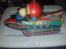 Vintage Masudaya Snoopy Space Patrol Toy Rocket battery operated WORKS excellent