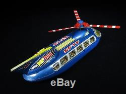 Vintage Mf960 Sftf Futuristic Space Transport Helicopter Tin Litho Red China Toy