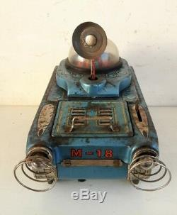 Vintage Old Rare Modern Toy Battery Operated Space Tank M-18 Litho Tin Toy Japan