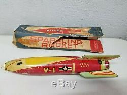 Vintage Original Masudaya Sparkling Rocket V-1 Japan 1950 Space Toy with Box
