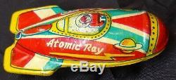 Vintage Rare ATOMIC RAY X-30 Rocketship JAPAN Tin Litho Toy 1950s