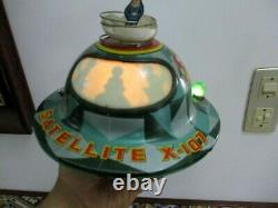 Vintage Rare Tin Toy Space Flying Saucer Japan Modern Toys Satellite X-107