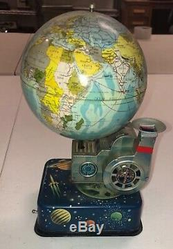 Vintage S. H Japan Space Age Globe With Blower Planets Spaceships Tin Battery Op