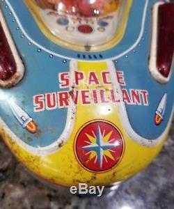 Vintage SPACE SURVEILLANT Tin Metal Toy Ship X-07 1950's JAPAN RARE HTF Works