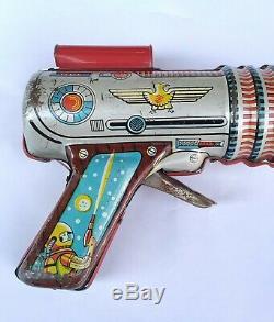 Vintage Space Pistol Astra Tin Toy Ray Gun Lyra Greece 1960s