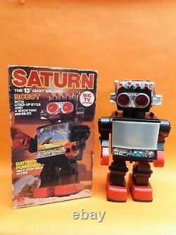 Vintage Space Saturn The 13 Walking Big Tv Robot Light Eyes Missiles