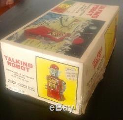 Vintage TALKING ROBOT + BOX YONEZAWA 1960s Japan SPACE TIN BATTERY OPERATED