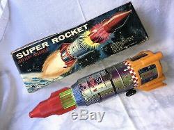 Vintage TIN TOY ROCKET SPACESHIP APOLLO 15 SPACE FRONTIER YOSHINO K. Y JAPAN BOX