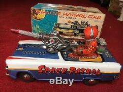 Vintage TINPLATE Space Patrol Car Nomura TN Toys 1960s Japan Nr Mint BOXED Rare