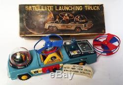 Vintage Yonezawa Japan Tin Satellite Launching Truck With Satellites Excellent