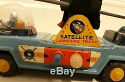 Vintage Yonezawa Satellite Launching Truck, space tin toy, Japan 1955-LOOK