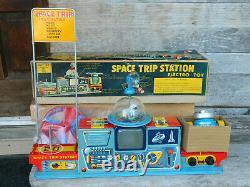 Vintage Yonezawa, Space Trip Station in Original Box Tin litho toy