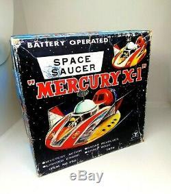 Vintage Yonezawa Tin Toy Space Saucer Ship Mercury X-1 Japan 1960's