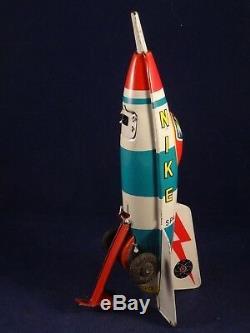 Vintage rare tin toy Space Rocket NIKE SR-7 MASUYA TOY JAPAN 1950's Friction