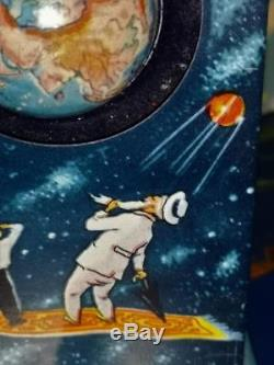 Vintage very rare Space Pre-moon Cosmic Tin Space Toy SPUTNIK Tinplate 1958