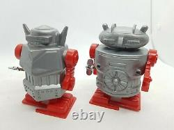 Vintage walking wind up Martians robot toys old shop display rare space age mib