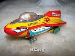 Winner 23 Battery Operated Rocket Plane Japan Vintage Tin Space Toy